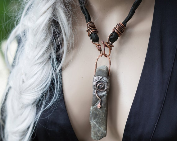 Snake and stone pendant | natural stone, snake necklace, ancient amulet necklace