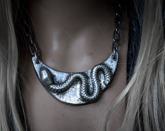 Silver snake and moon necklace | handmade sand-cast pewter crescent moon with coiled snake, rustic necklace