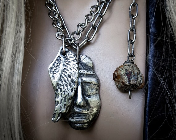 Relic necklace | Angel face and angel wing, raw tuquoise, sand cast lead-free pewter, rustic statement jewelry