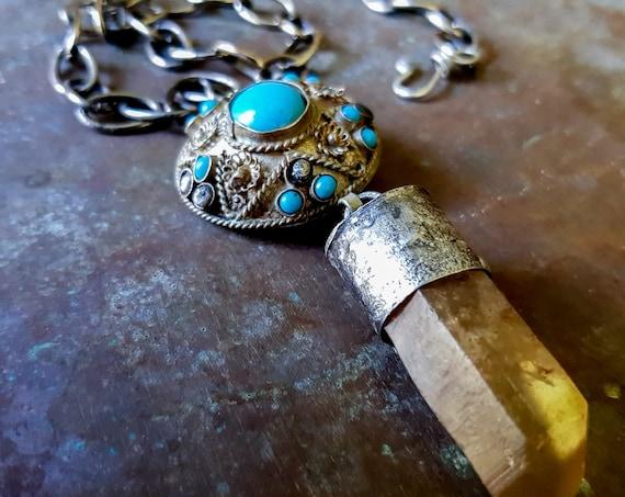 Boho smoky quartz and kuchi necklace | smoky quartz crystal necklace with battered kuchi, gypsy necklace
