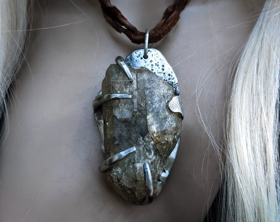 Smoky crackle quartz in unique artisan setting, recyled leather chord   huge crystal, handmade one of a kind, brutalist necklace