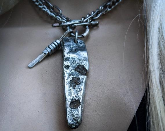 Brutalist sand cast silver pewter necklace with embedded apophyllite fragments | handmade, unique design