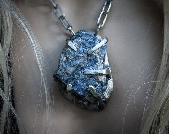 Raw sodalite necklace | blue stone, brutalist prong setting, sand cast pewter, unique artisan statement piece
