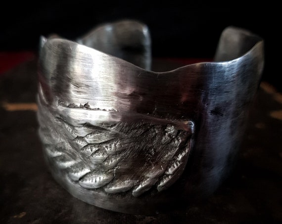 Pewter cuff bracelet with angel wing   Rustic handforged wide cuff, solid heavy silver metal, OOAK handmade