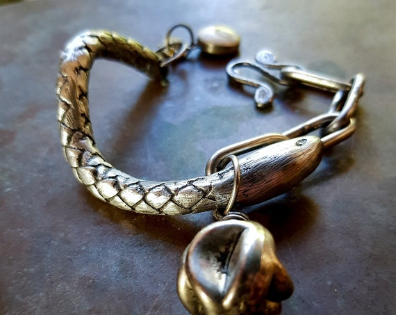 Silver serpent bracelet | heavy, wrap around  serpent and chain bracelet, lead free pewter, snake bracelet