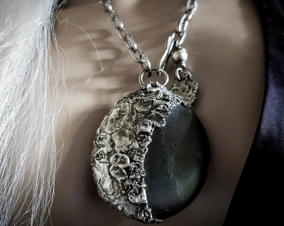 Black moon eclipse| soldered black river stone necklace, natural stone in an organic textural setting