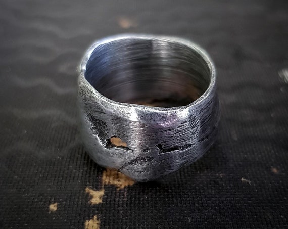 Sand cast pewter ring | organic textured wide band silver ring, rustic ring