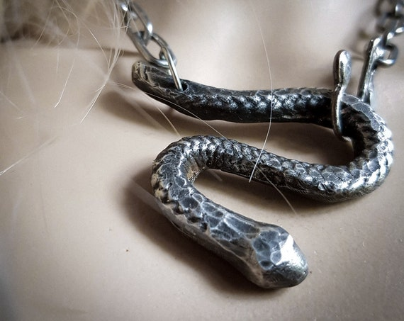 Large silver serpent necklace | handmade pewter snake necklace, snake pendant, handmade, one of a kind