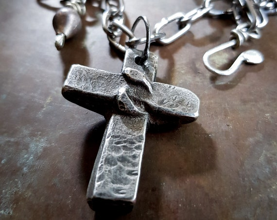 Emergence: Serpent cross pendant, lead free pewter, amulet necklace, snake with cross