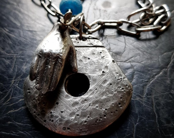 Amulet | silver hand and amulet necklace, lead free sand cast pewter