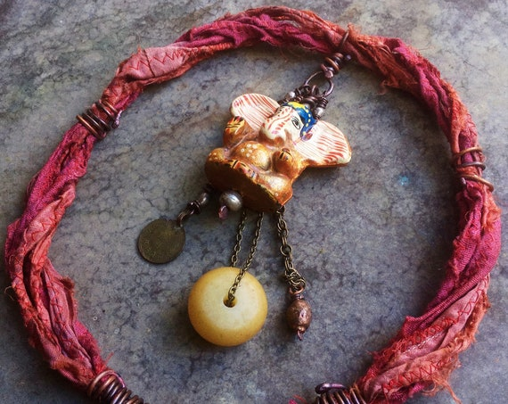 Tribal gypsy elephant necklace | assemblage necklace, amulet necklace, orange silk