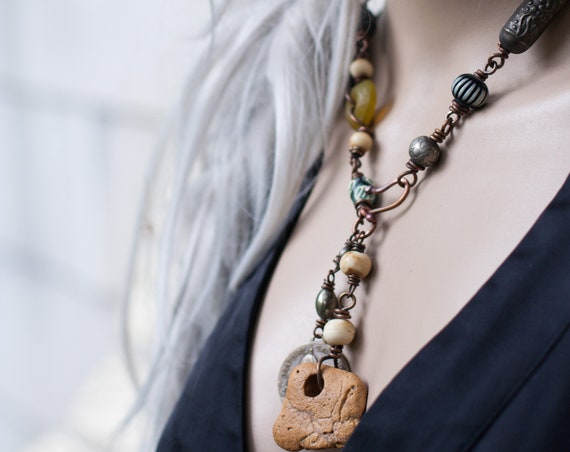 Hag Stone assemblage necklace | witch stone, fairy stone, holey stone (natural stone)