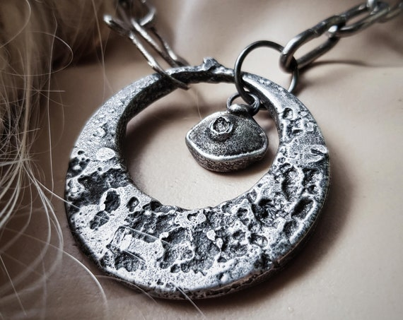 All Seeing Eye and Crescent Moon Necklace | sand cast lead free pewter, third eye