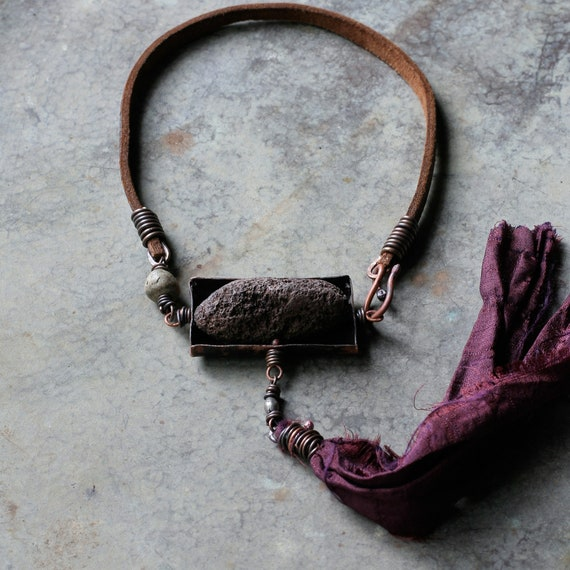 Boxed raw stone necklace, long silk tassel | raw stone necklace, natural stone,  artisan necklace
