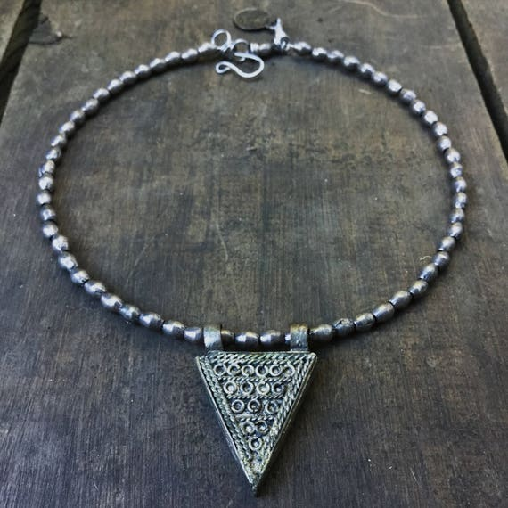 Ethiopian telsum and silver bead choker necklace | African evil eye amulet