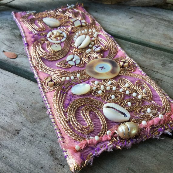Boho gypsy embroidered embellished and beaded textile cuff in pink and gold