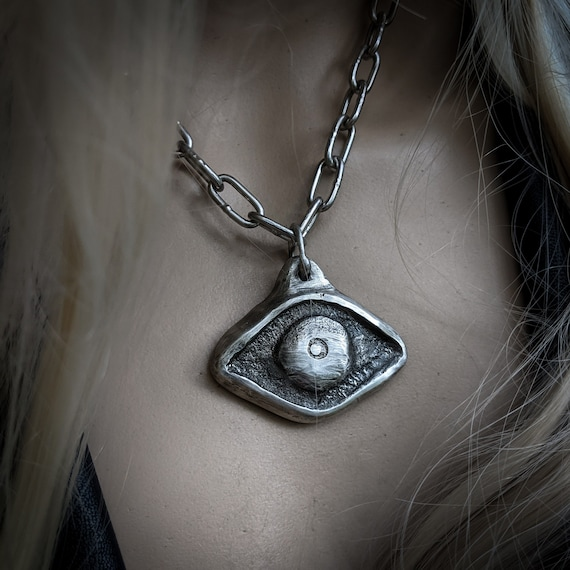 Silver evil eye necklace | handmade sand-cast pewter eye, large eye, art to wear, amulet necklace
