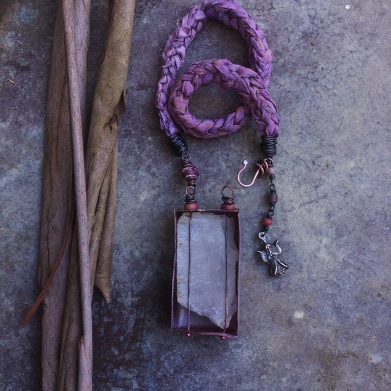 Unique raw stone necklace | large crystal in distressed copper enamel shadow box and braided sari silk chord