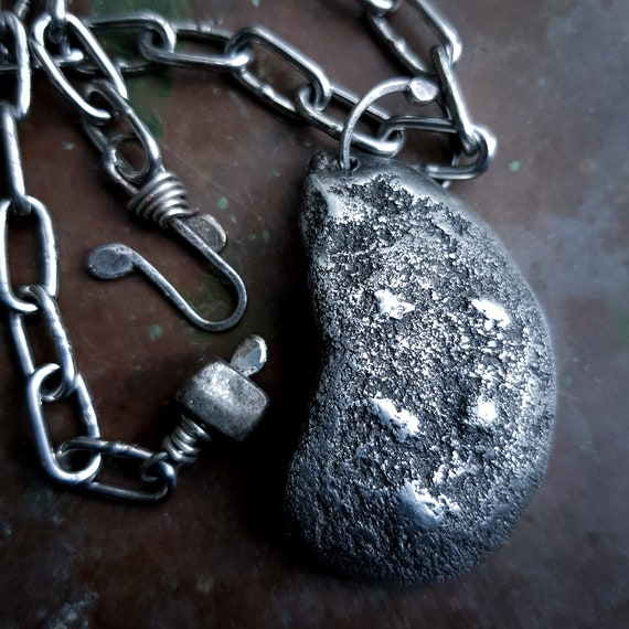 Hollow moon pendant | partial moon, sand cast from natural stone, lunar moonscape necklace, sculptural jewelry
