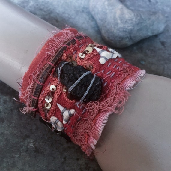 Tattered textile cuff with black tektite (size small) | embroidered cuff, red fabric cuff, gypsy textile cuff
