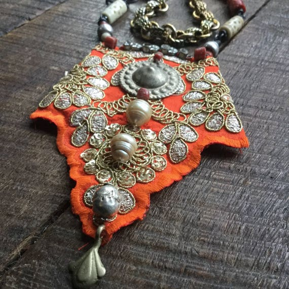 Boho orange necklace | gypsy necklace, embroidered fabric, sari border, boho assemblage, mixed media necklace, bohemian necklace
