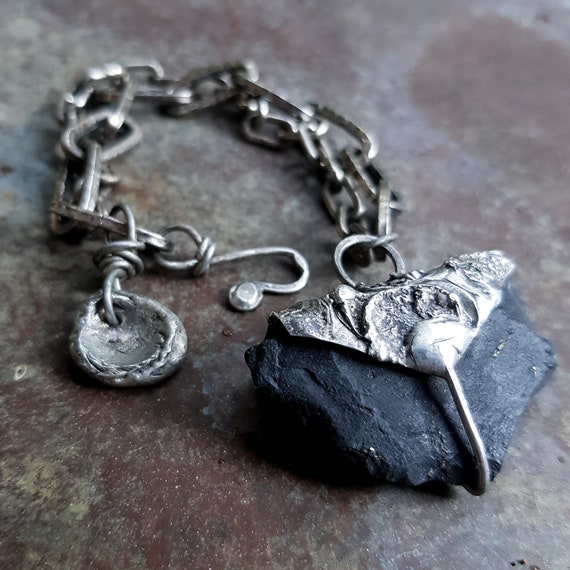 Shungite bracelet | raw black stone and chain bracelet, natural stone, mineral jewelry