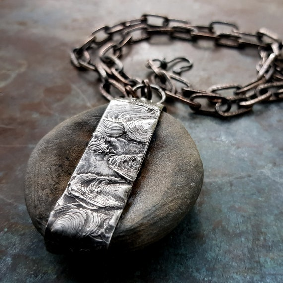 Natural stone and silver necklace | concave stone, heavy chain, rustic jewelry