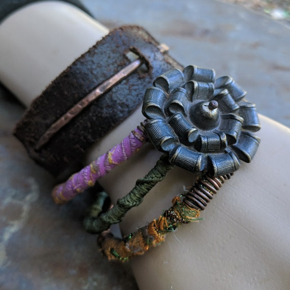 Boho gypsy copper bangle stack with sari silk | stacking bangles, leather and copper bangle