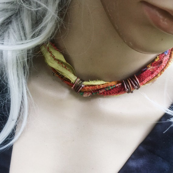 Handmade boho multistrand silk necklace | boho choker, sari silk necklace, earthy colors, layering necklace