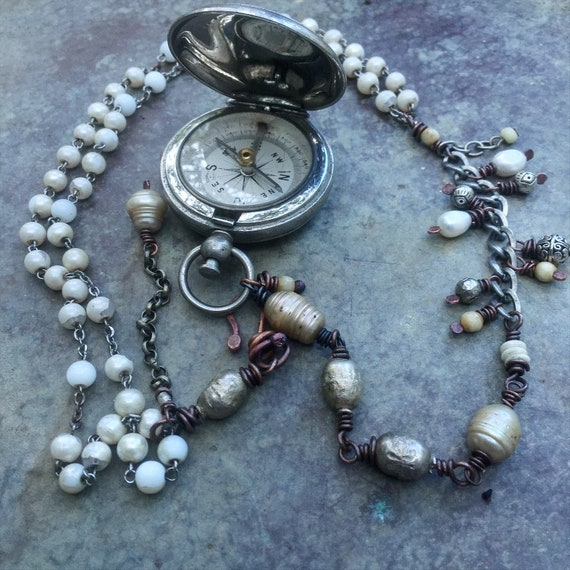Found object necklace | assemblage necklace with vintage compass, rosary beads, freshwater pearls