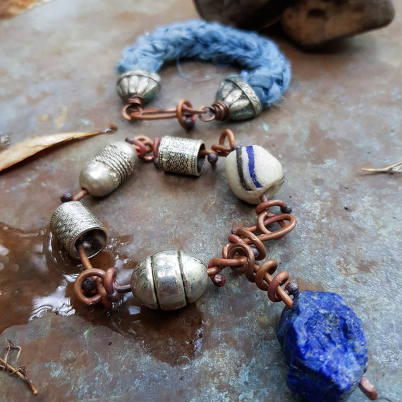 Boho bracelet set with raw blue lapis, African trade bead, Ethiopian and salvaged beads