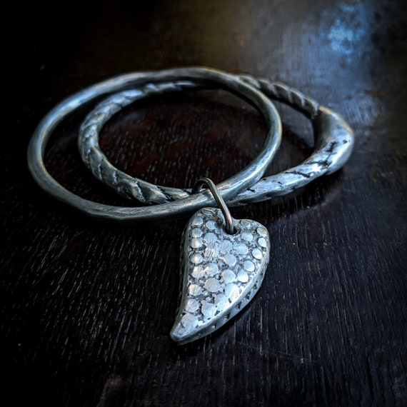 Ouroboros bangle set | sand cast silver pewter ouroboros bangle and organic bangle with heart, size M/L