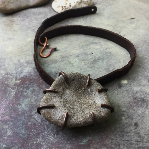 Natural found stone necklace | stone, leather and copper, rustic earthy jewelry