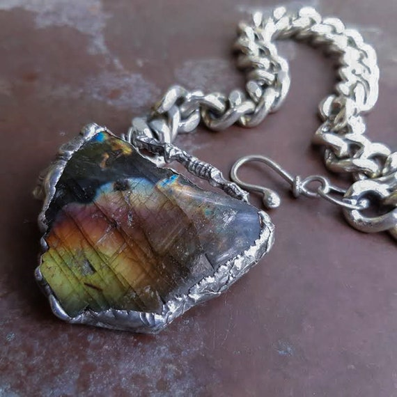 Large labradorite necklace in rustic silver soldered setting with silver metal chain