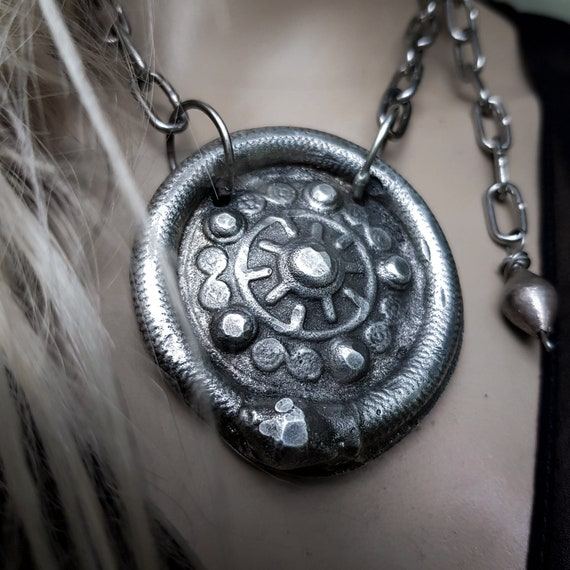 Ouroboros shield necklace | silver serpent and shield, sand cast lead free pewter
