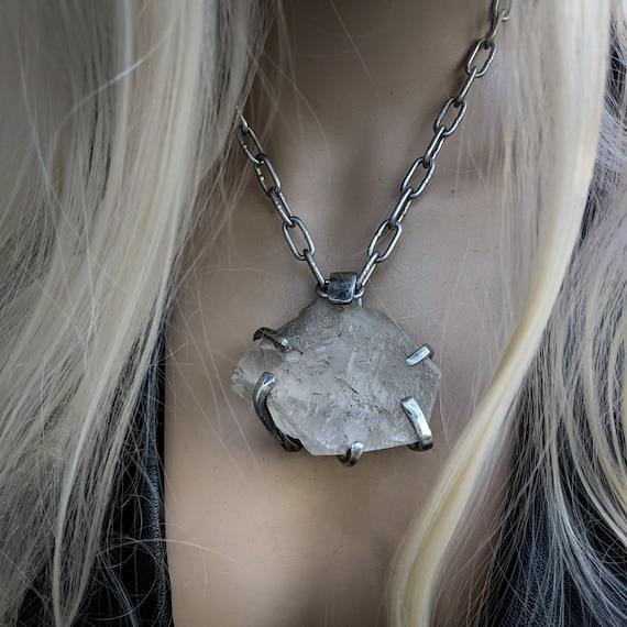 Large quartz necklace | unique stone, prong setting,  sand cast pewter, unique artisan statement piece