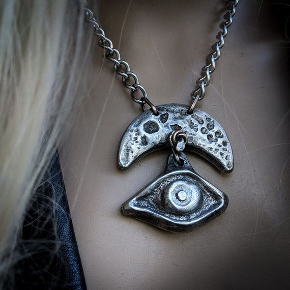 Amulet necklace | silver crescent moon and evil eye,  sand-cast lead free pewter, rustic statement necklace