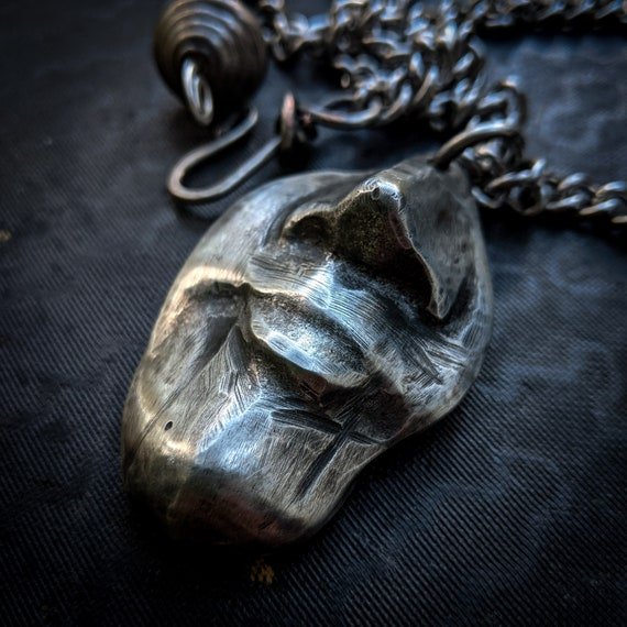 Face necklace | silver face pendant, partial realistic face, sand cast lead-free pewter, handmade one-of-a-kind