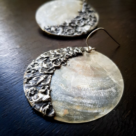 Shell and crescent moon earrings | rustic silver earrings, artisan drop earrings