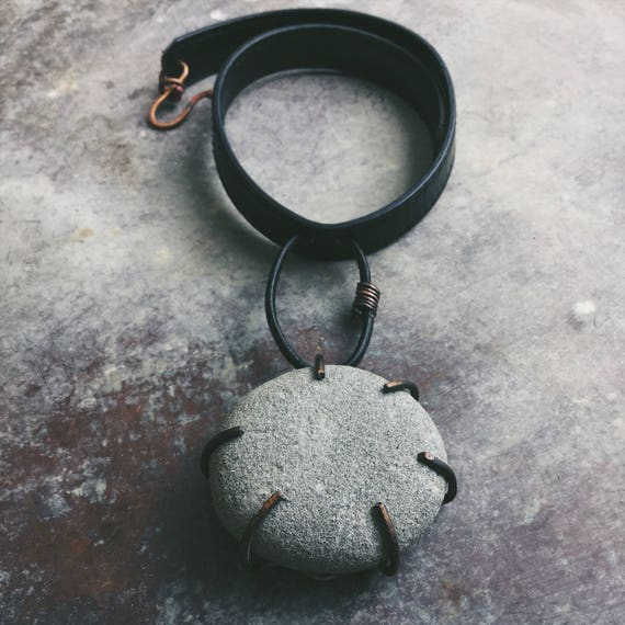 Stone Mo0n Necklace | natural stone and leather rustic necklace