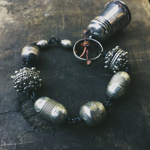 Assemblage bracelet with large silver metal beads and vintage salt cellar - found object jewelry
