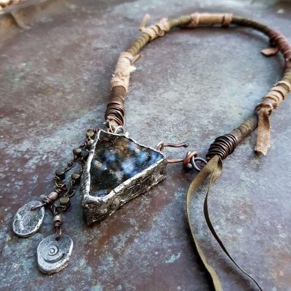 Boho leather and stone necklace | boho necklace, bohemian necklace, amulet necklace