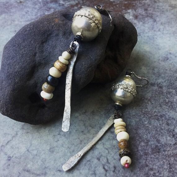 Ethiopian prayer bead rustic tribal drop earrings with sterling earwires