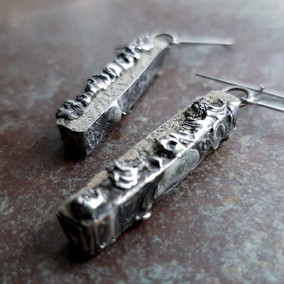 Soldered concrete earrings | brutalist earrings made from concrete and soldered tin, rustic jewelry