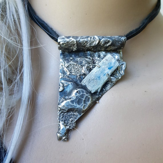 Kyanite and salvaged metal necklace| artisan necklace, rustic necklace, contemporary jewelry