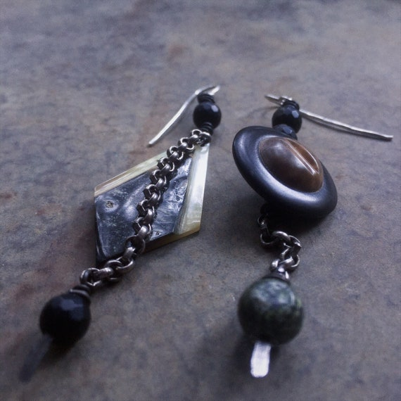 Assemblage drop earrings | diamond shaped shell and vintage button, Czech glass beads, sterling silver ear wires