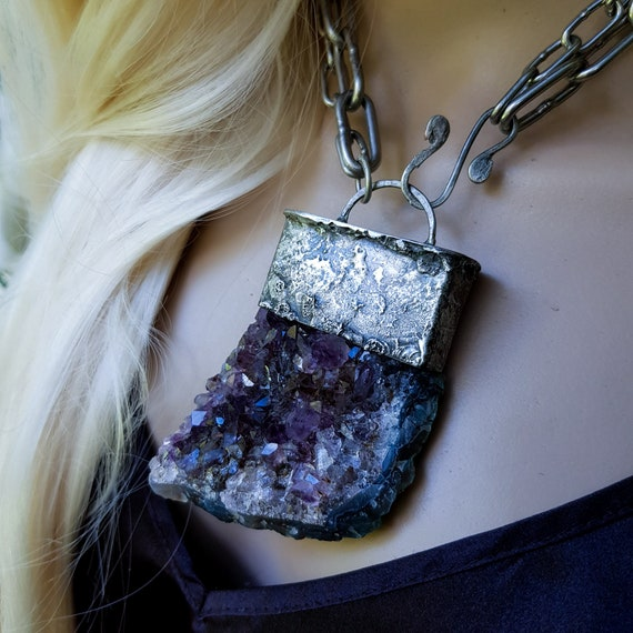 Amethyst cluster necklace | large raw amethyst and silver