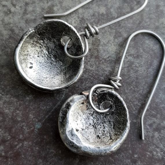 Silver disc earrings | Rustic artisan earrings, silver soldered earrings