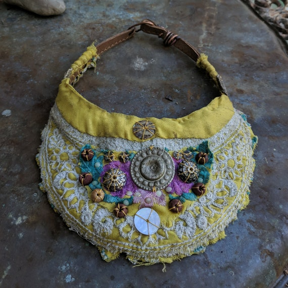 Boho bib necklace, collar necklace | vintage Indian  embroidered textiles, yellow and white, handsewen, rustic