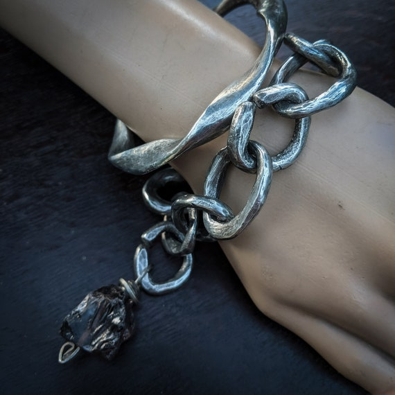 Handmade chunky chain bracelet and solid wavy bangle | handmade bracelet and bangle set